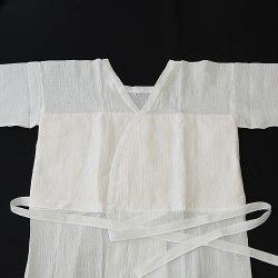 画像1: 夏物和装肌着 本麻楊柳あしべ汗取り付 スリップ M寸