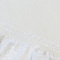 画像1: 黒留袖(礼装用)帯揚げ 総絞り 四ツ巻 白無地 巾:約18cm