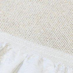 画像1: 黒留袖(礼装用)帯揚げ 総絞り 四ツ巻  頭金 白/金 巾:約18cm