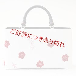 画像1: KIMONOバッグ 京古乃美 輪出し吹き寄せ オフホワイト地 /深赤(01)