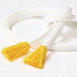 画像1: 長尺帯締め 白ゆるぎ色撚房 黄色(02)