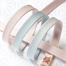 画像1: 長尺帯締め 角朝二色ぼかし撚房 桜色(さくらいろ)/白藍(しらあい)(07)