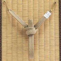 画像1: 紳士羽織紐 角朝 鹿の子 押込房 空五倍子色(うつぶしいろ)(09)