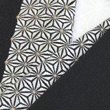 刺繍半襟 麻の葉 黒(06)