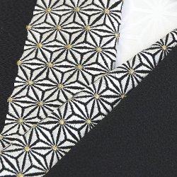 画像1: 刺繍半襟 麻の葉 黒(06)