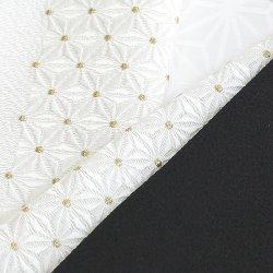 画像1: 刺繍半襟 麻の葉 白