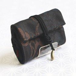 画像1: 紳士用 和財布 荒磯(黒)