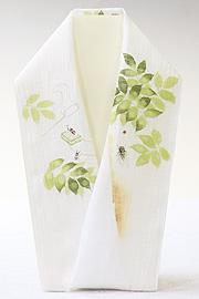 夏物手描き半襟 蝉とカブトムシ