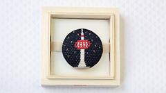 絽刺し帯留め 京都タワー 星空