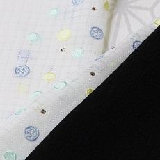 ポリエステル小格子 刺繍半襟 水玉ボタン (02)
