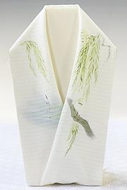 夏物手描き半襟 白鷺<オフホワイト>
