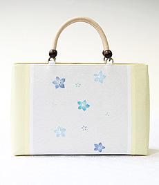 夏物KIMONOバッグ 三色桔梗 BLUE(クリーム)