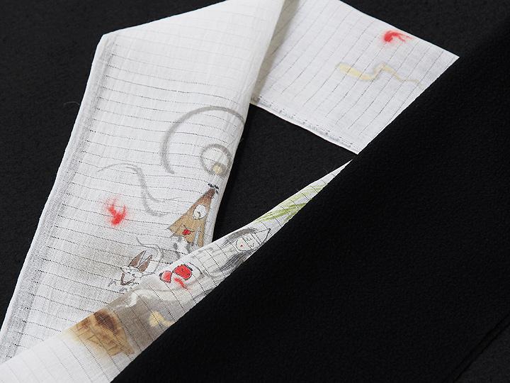 夏物手描き半襟 お化け屋敷 黒の生地と合わせたイメージ