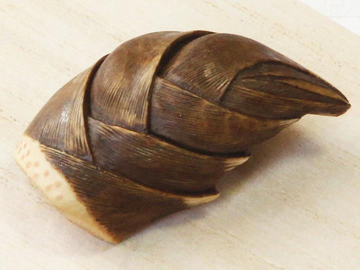黄楊帯留め 筍 表面拡大