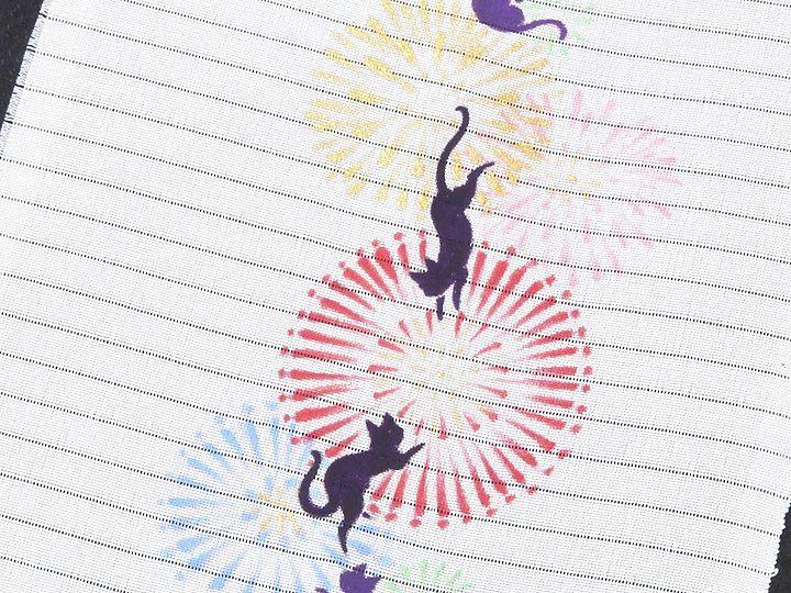 夏物手描き半襟 猫の花火 柄(1)