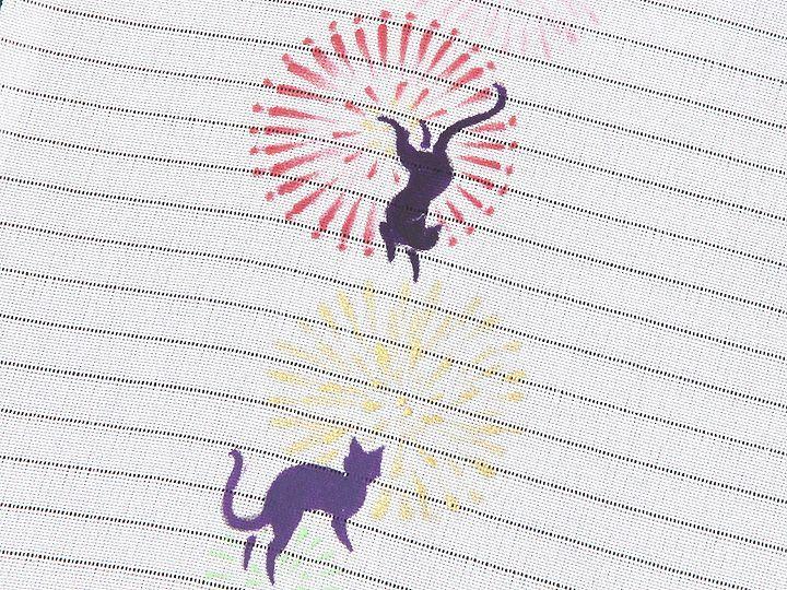 夏物手描き半襟 猫の花火 柄(2)