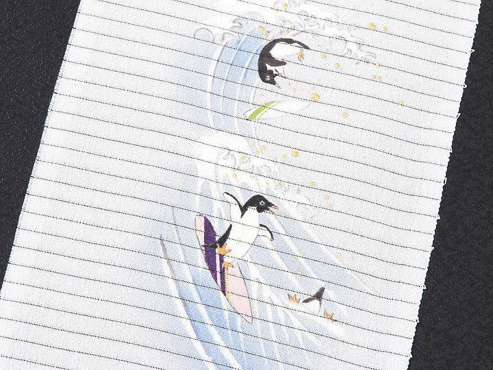 夏物手描き半襟 波乗りペンギン 柄(1)