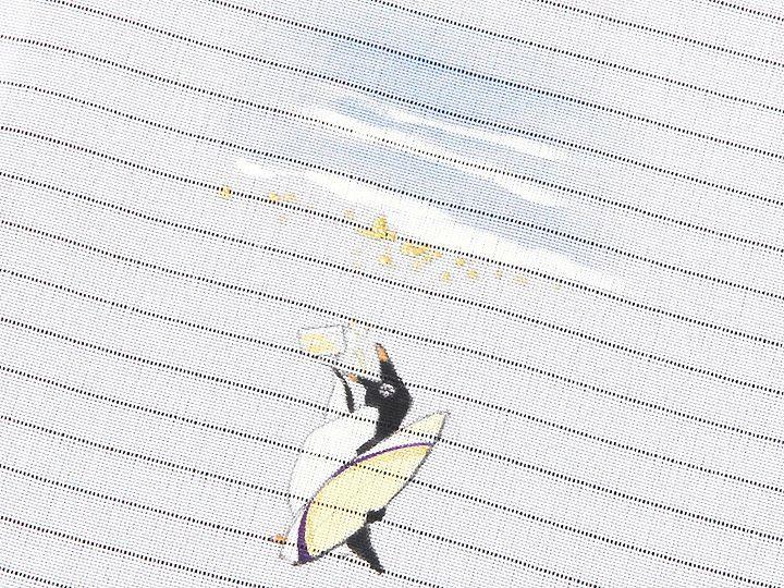 夏物手描き半襟 波乗りペンギン 柄(2)