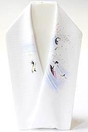 夏物手描き半襟 波乗りペンギン