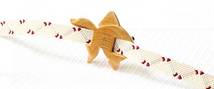 黄楊帯留め 金魚 三分紐 裏