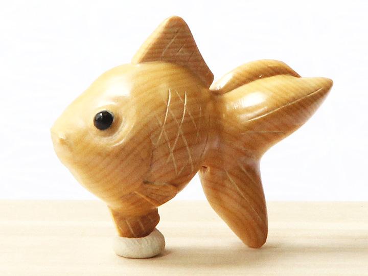 黄楊帯留め 金魚 拡大画像