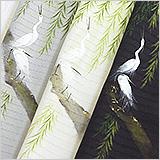 夏物手描き半襟 白鷺