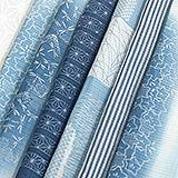 麻絽半襟 藍染め