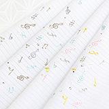 ポリエステル絽 刺繍半襟 音符ラインストーン