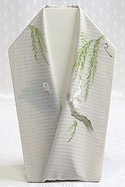 夏物手描き半襟 白鷺 絹鼠
