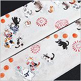 夏物手描き帯揚げ ネコの盆踊り